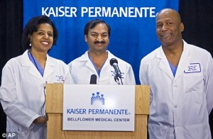 Doctors Karen Maples, left with Harold Henry, right and Mandhir Gupta answer questions at a news conference at the Kaiser Permanente Bellflower Medical after the birth of eight babies (daily mail)