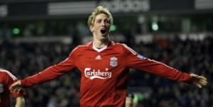 Selebrasi Fernando Torres usai menjebol gawang Chelsea.
