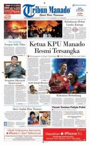"""Tribun Manado Edisi 27 Mei 2009 versi kedia dengan berita """"stop press"""" di banner."""